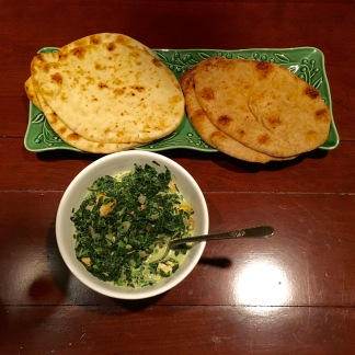 Garlic Naan, Whole Wheat Naan and Saag Paneer with Tofu