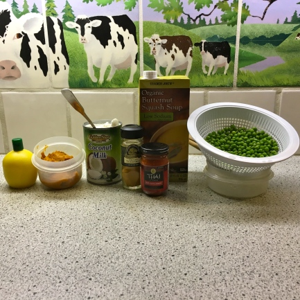 Prepped curry ingredients against the cow tiles