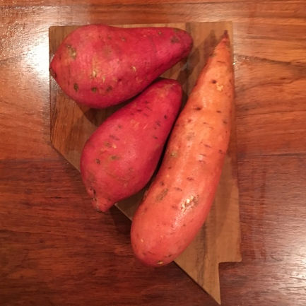 Sweet potatoes on a sweet Nevada cutting board.