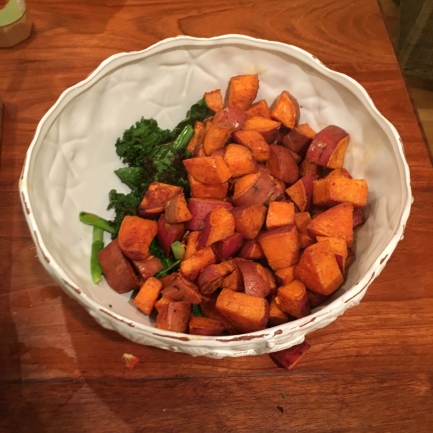 Roasted kale, green onions and sweet potatoes.