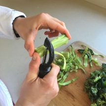 Peel the broccoli stems and then chop into bite-sized circles.