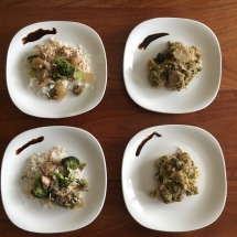 Our chicken and broccoli dishes, plated, with hoisin sauce.