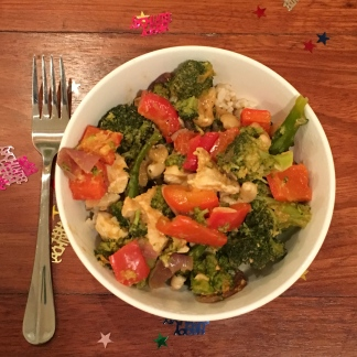 The final product: cashew chicken with veggies for dinner