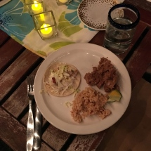 Fish tacos, rice and beans at Robin and Maria's home