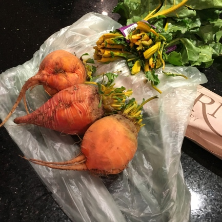 Golden beets with beet greens