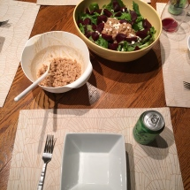 Plenty of extra farro to be shared, and our drinks of choice - LaCroix and red wine