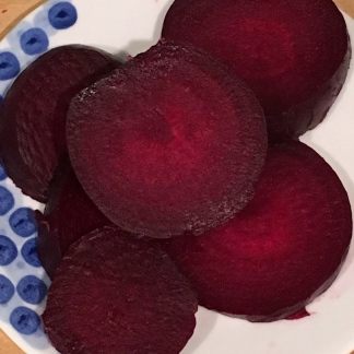 Piles of sliced beets, ready to enjoy