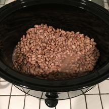 My pinto beans soaked all day in the slow cooker, which was not on