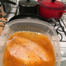 This tilapia filet has been marinating for at least eight hours, and will be ready to eat in about eleven minutes!