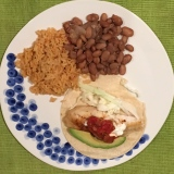 Fish taco, rice and beans