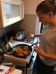 Alli's shot: caramelizing the carrots and oranges