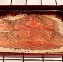Two beautiful filets of salmon, equaling about 3/4 of a pound