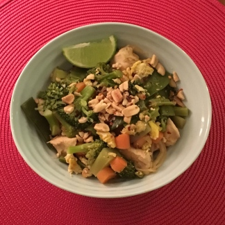 Daikon noodle pad thai with crushed peanut topping