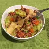 The pappardelle at the bottom tastes great with a forkful of zucchini noodles and meat sauce with lentils!