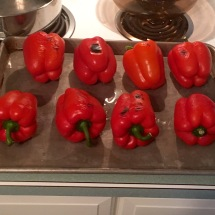 Eight roasted red peppers (we doubled the recipe to have leftovers)