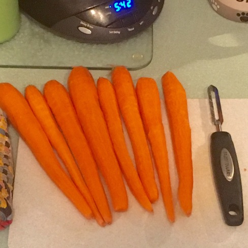 Carrots, freshly peeled and ready to steam
