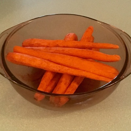 Carrots rolled in spices.