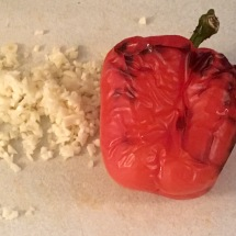 Finely chopped garlic and a wrinkly pepper.