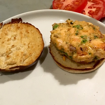 The salmon burger patty stayed together nicely!