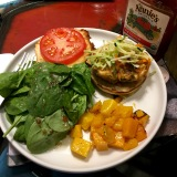 Our late-night salmon burger dinner