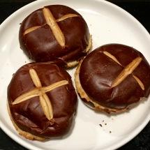 Three lightly toasted pretzel buns