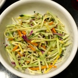 Packaged slaw veggies make for an easy topping