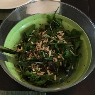 I bought fresh greens at the Green City Market, and topped those off with Rick's homemade vinaigrette
