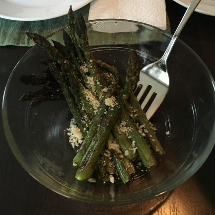 Roasted aparagus with a sprinkling of shredded parmesan