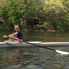 Annika learning to scull in Buchanan, MI.