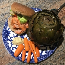 Salmon sandwich meal made with leftovers.