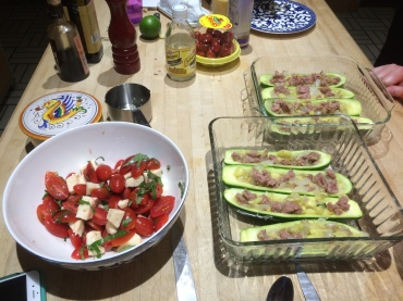 Caprese salad, ready to chill, and zucchini boats, ready to bake!