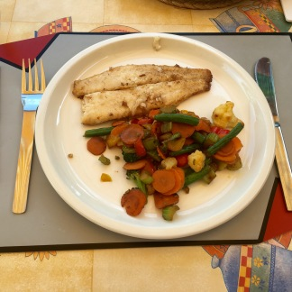Fresh, buttery fish and stir-fried mixed veggies.