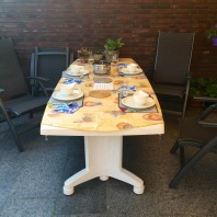 The outside table got a lot of use during our visit.