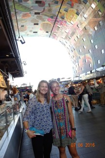 Bob took Jess and I to the Markthal, the giant indoor market in Rotterdam. The ceiling mural depicts all available foods!