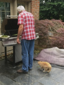Patrick grilled the asparagus and tried in vain to feed a piece to our cat.