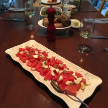 Our delicious summer time feast, featuring my favorite watermelon salad.