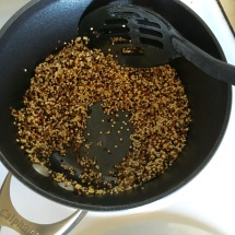 Toasted quinoa should smell a little nutty, and when you stir the quinoa you should not see water in the pot.