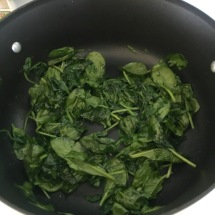You will be amazed at how much spinach cooks down!