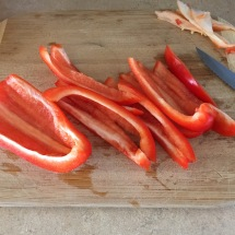 Fresh red pepper gives off the best smells when sliced!