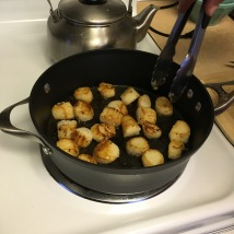In the evening, we browned scallops in a little olive oil and butter.