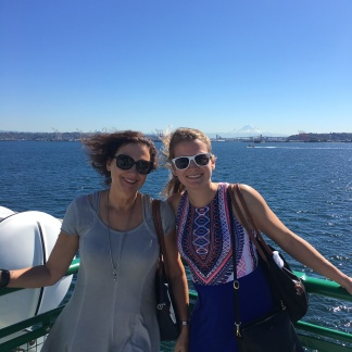 Mom and I crossing Puget Sound on a ferry bound for Bainbridge Island.