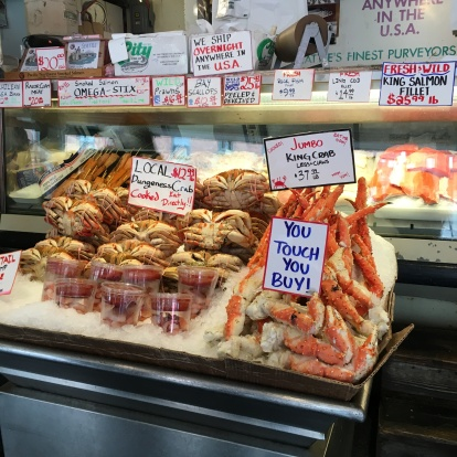 """Pike Place Market is the place to be for king crab legs. Note: """"you touch you buy!"""""""
