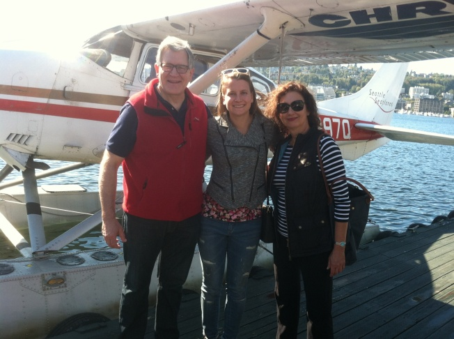 Dad, Mom and I before our tour of Seattle via plane.