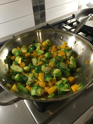 One big pan of pre-cut veggies.