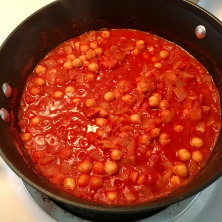 Mix in your chickpeas and water.