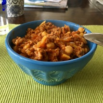 Chana masala with turkey for lunch, in under 30 minutes!
