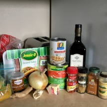 All of the ingredients you will need for chana masala, plus turkey.