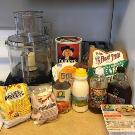 All the ingredients you will need to make pumpkin-tofu waffles.