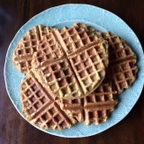 Today, our recipe yielded about ten waffles (some larger than others).