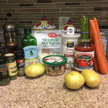 Everything you need to make chicken parmesan and roasted veggies at home.